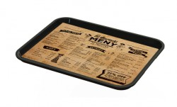 Tray liner printing, menu and advertising.