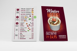 Table Talkers And Menu Printing With Free Delivery A Local Printer - Restaurant table talkers