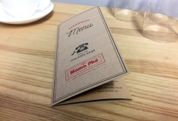 Menus printed on kraft