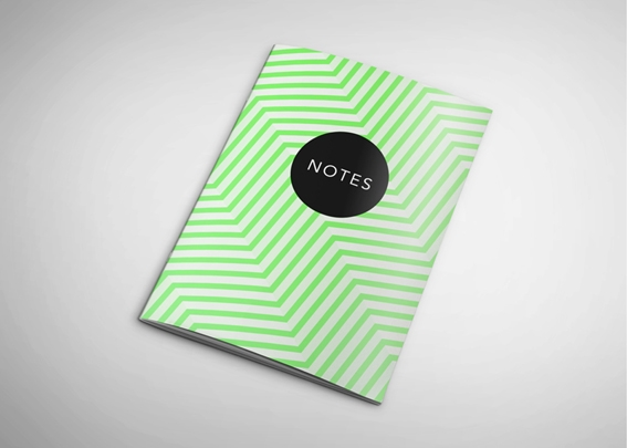 Neon printed notebook